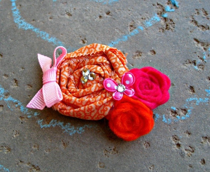 Summer Rosette Headband Baby Flower Headband Fabric Rosette Hair Clip Baby Headband or Clip