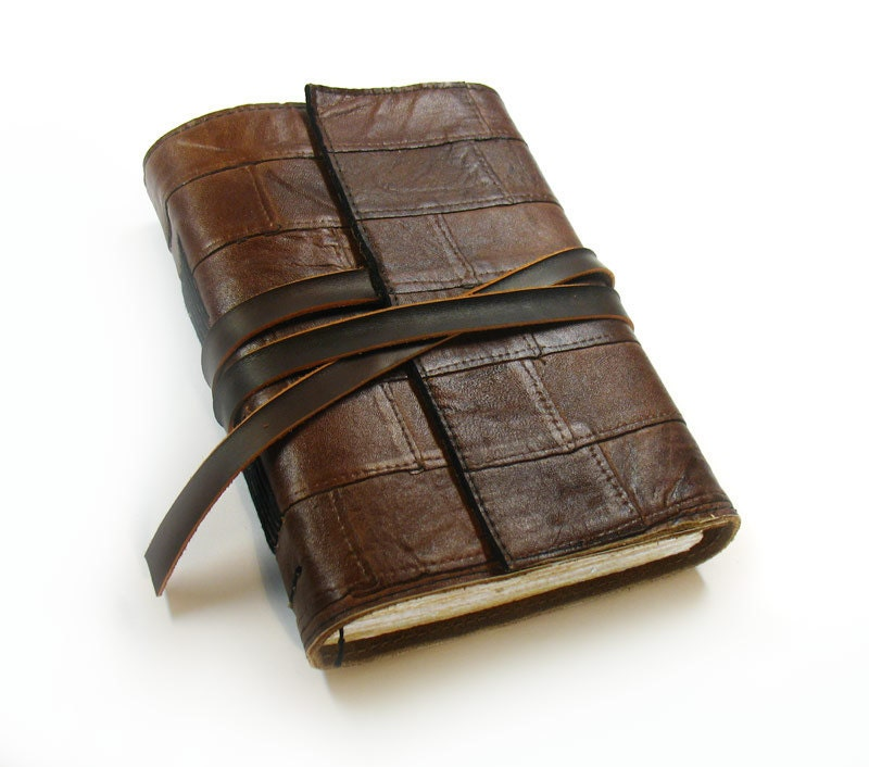 Journal - Rustic Brown Leather Journal with Old Paper - MedievalJourney