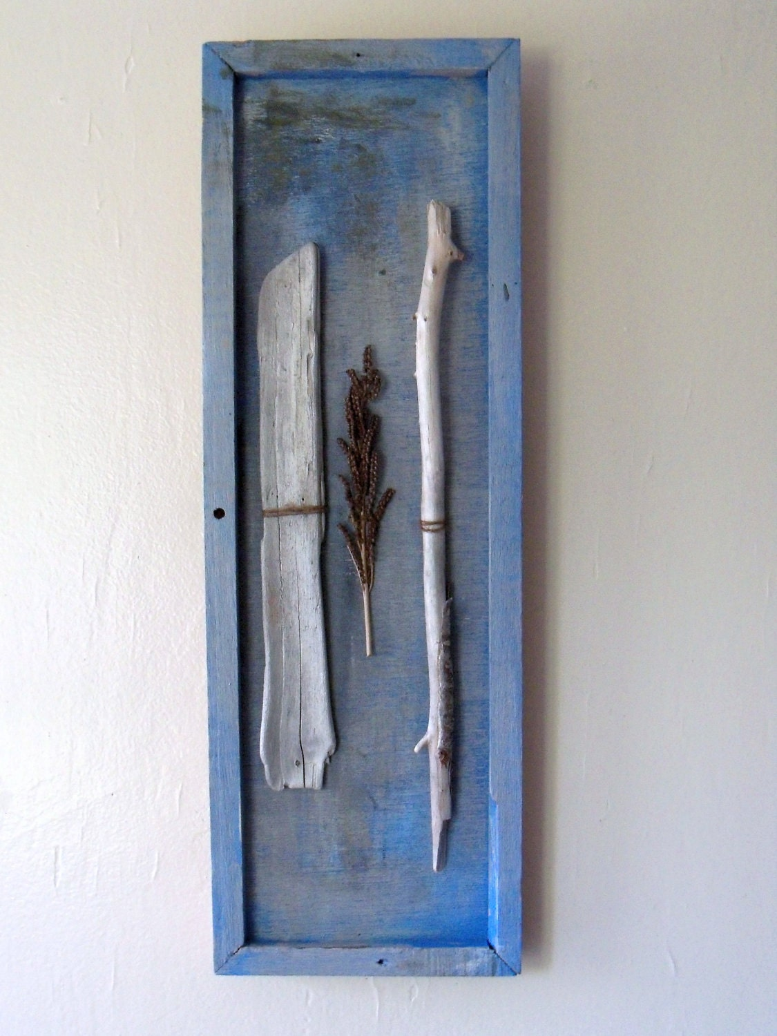Driftwood Sale- visit shop for coupon code-Driftwood, Burlap string, painted wood frame art - amylgieschen
