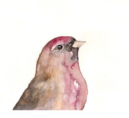 Red Bird Watercolor Print/5x7