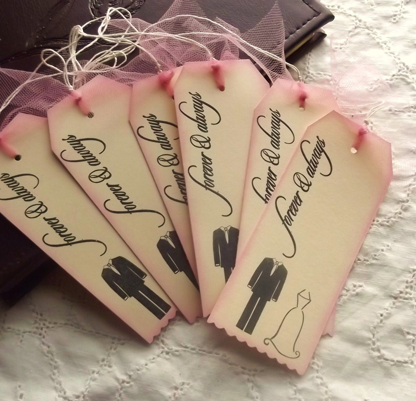Always and Forever Wedding Tags - Pink, Black, Cream