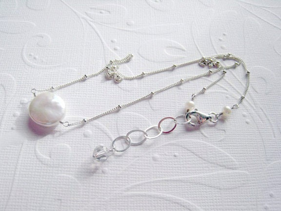 Pearl  Coin  Sterling Silver Satellite Chain  Wedding  Bridal  Bridesmaids / Luminous - SiennaGraceJewelry