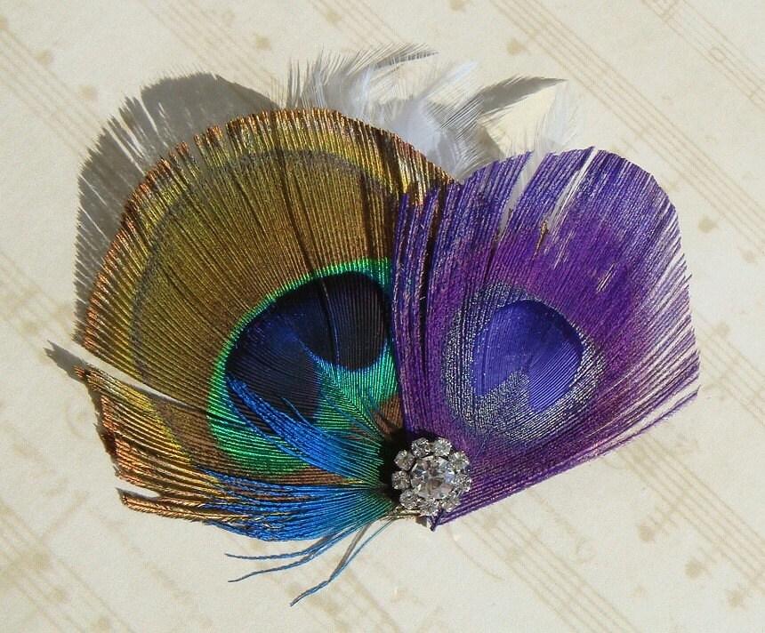 Masquerade Natural and Purple Teal White Peacock Bridal Hair Clip