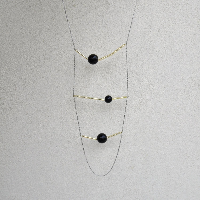 Geometric black necklace - MIRO - AMEjewels
