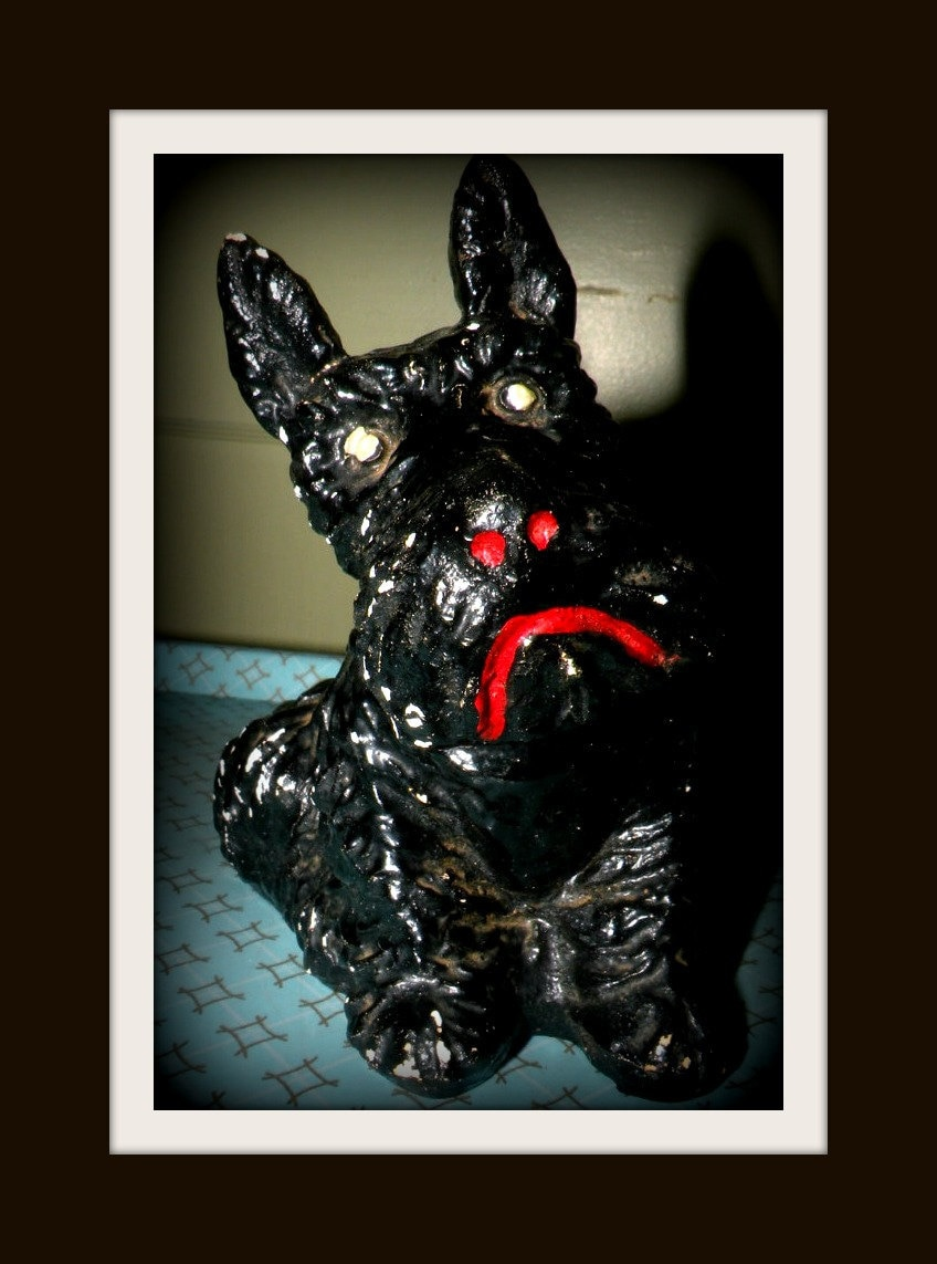 Scottie Dog Terrier Coal Like Statue Ornament Sad Puppy