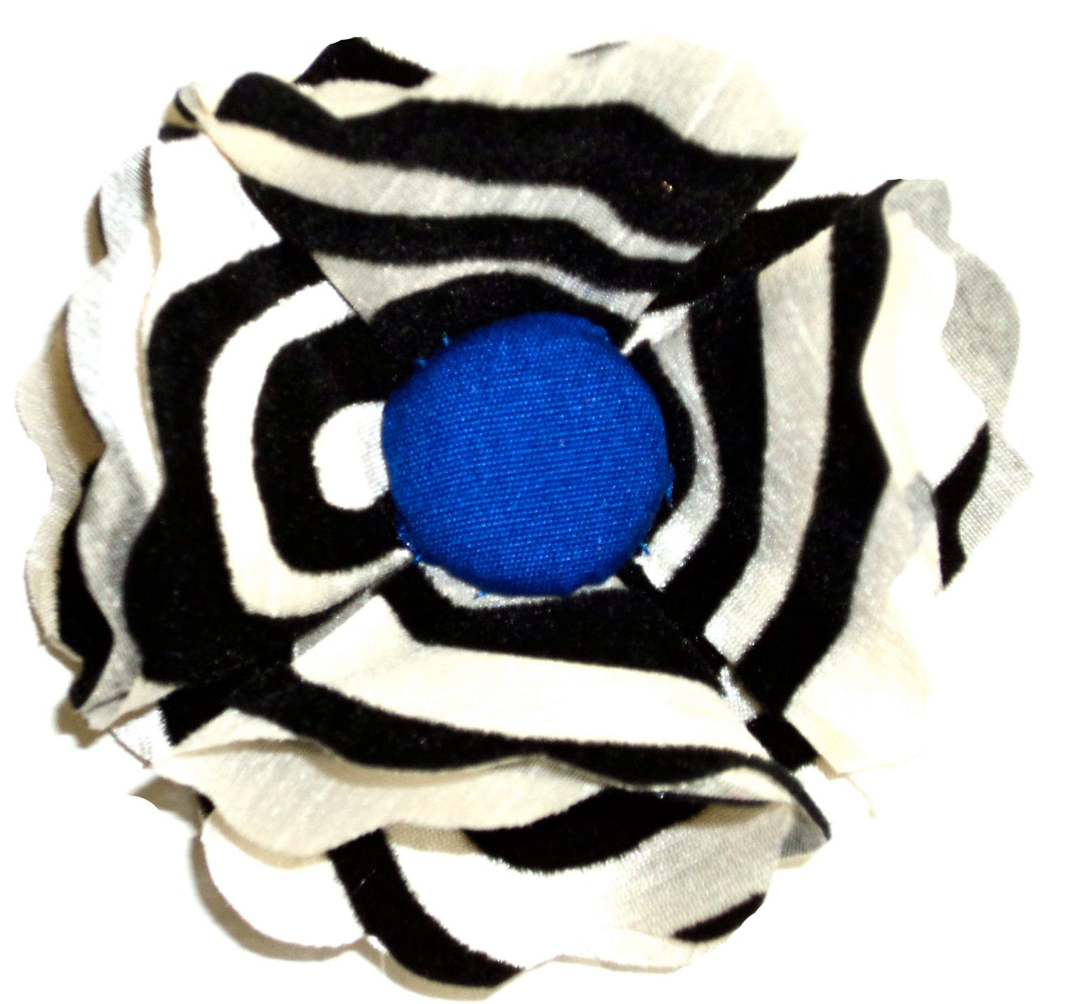 Royal Blue, Black & White Flocked Flower Pin/Hair Clip
