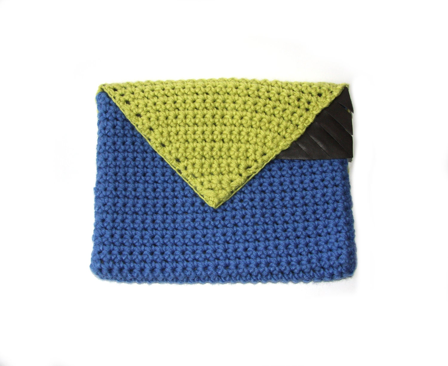 Colorblock Statement Winter Clutch - chartreuse, blue, brown leather - ready to ship - ElevenBoutique
