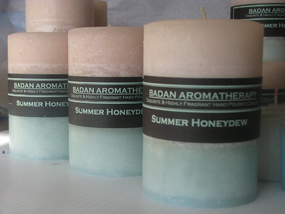 White & Melon Green: Summer Honeydew Pillar Candle 3x4.5