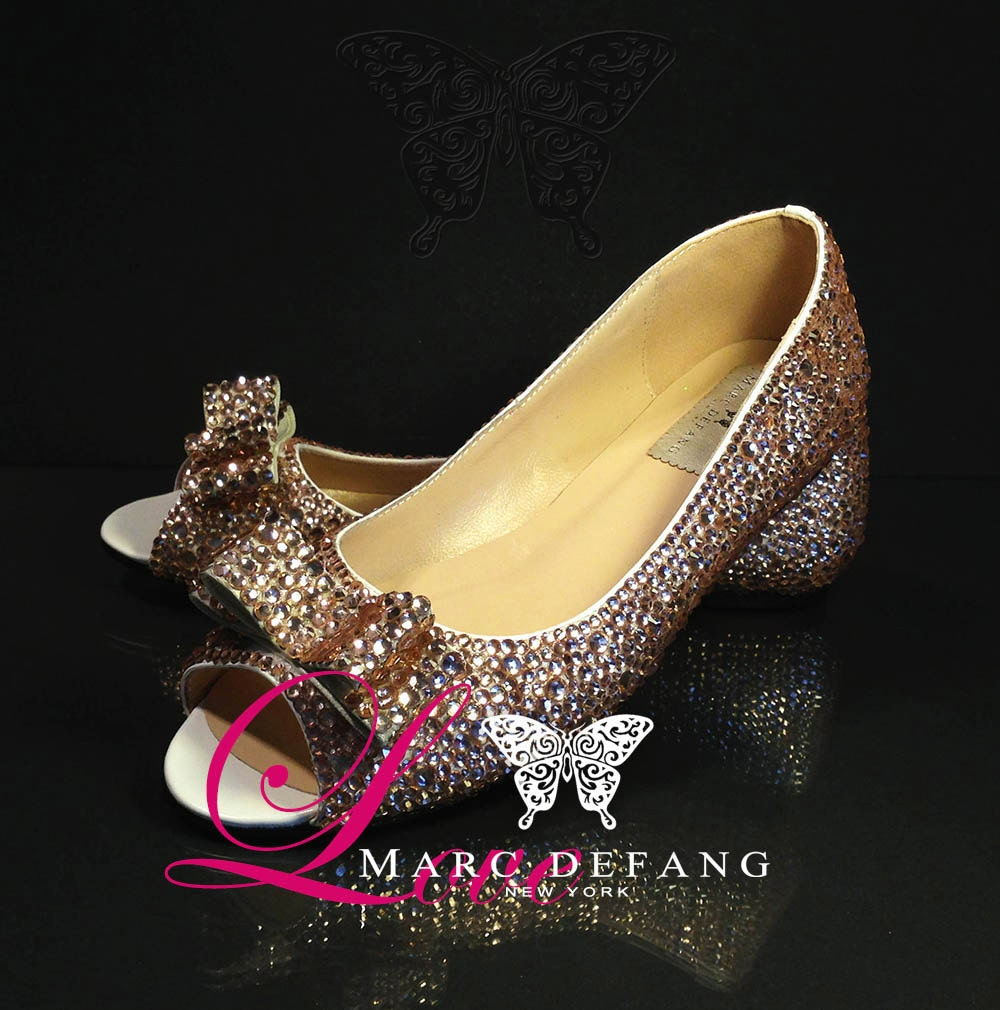 Mixed Sized 3-7mm Champagne Crystals, Luxury Peep Toe Flats