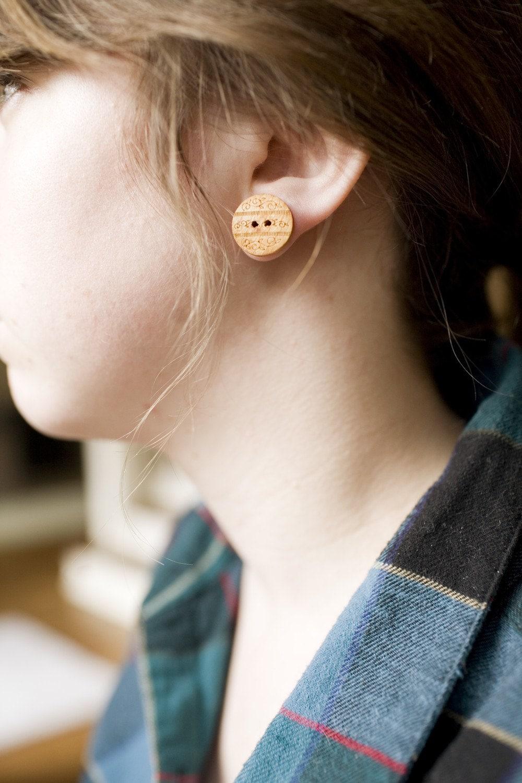 Wood Designed Button Earrings, Button earrings.