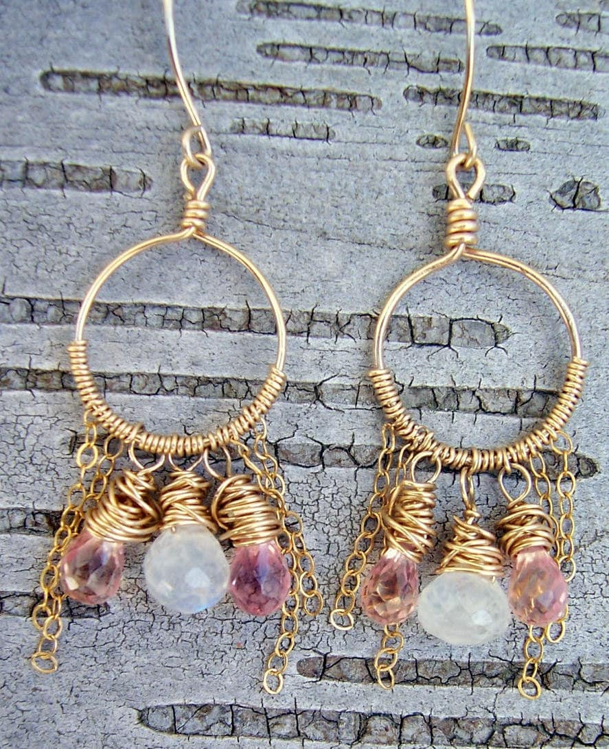 Moonstone and corundum wire wrapped gold hoop earrings