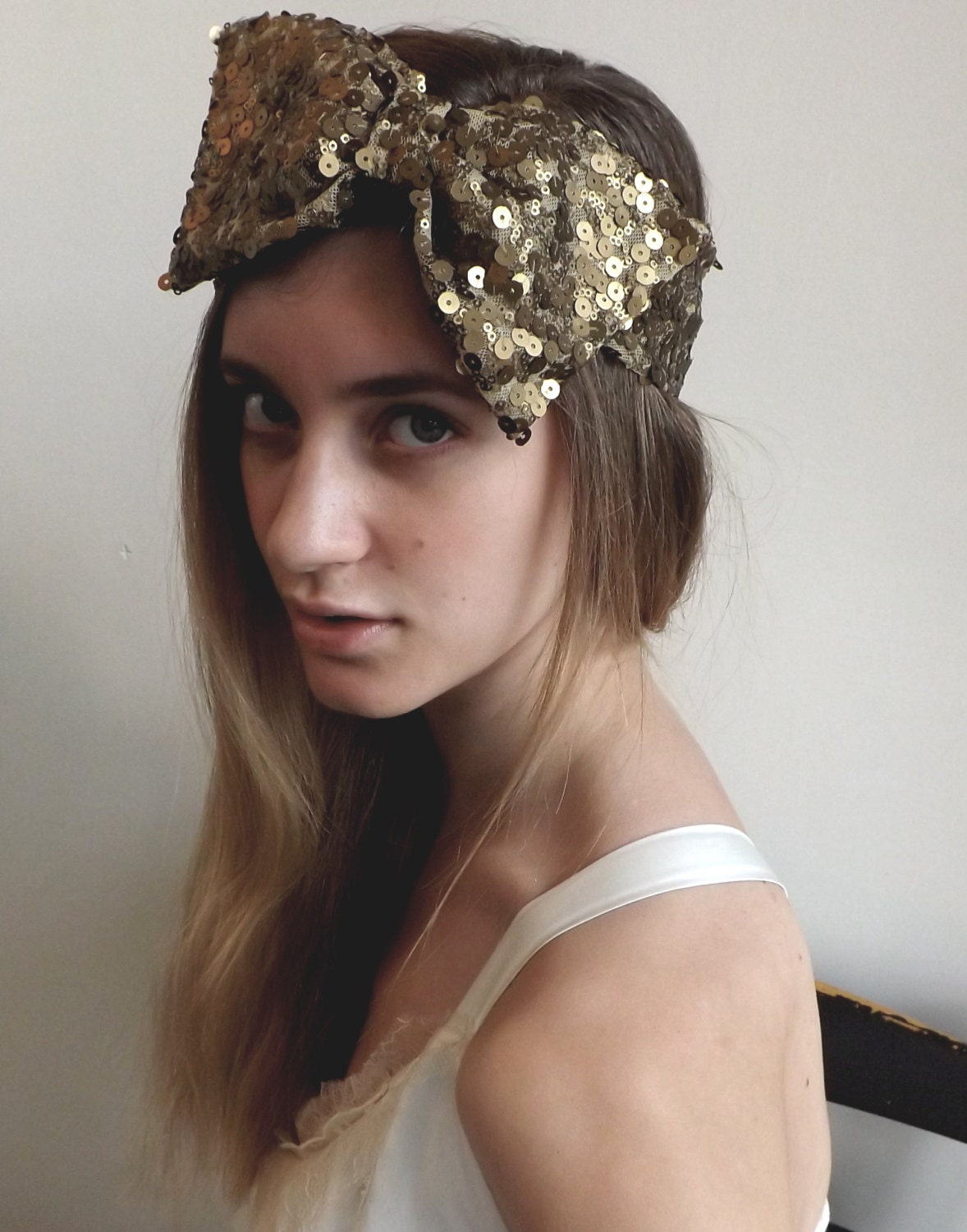 IN STOCK Antique Gold Sequin Hair Bow - hollystalder