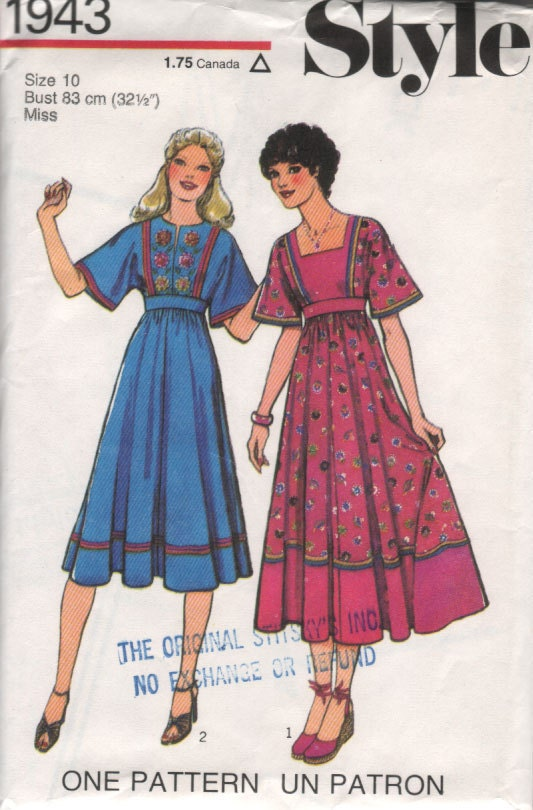 "UNCUT 70s Vintage Sewing Pattern EMBROIDERED Hippie Boho Peasant Dress - size 10 - bust 32.5"" (83 cm) - Style 1943"