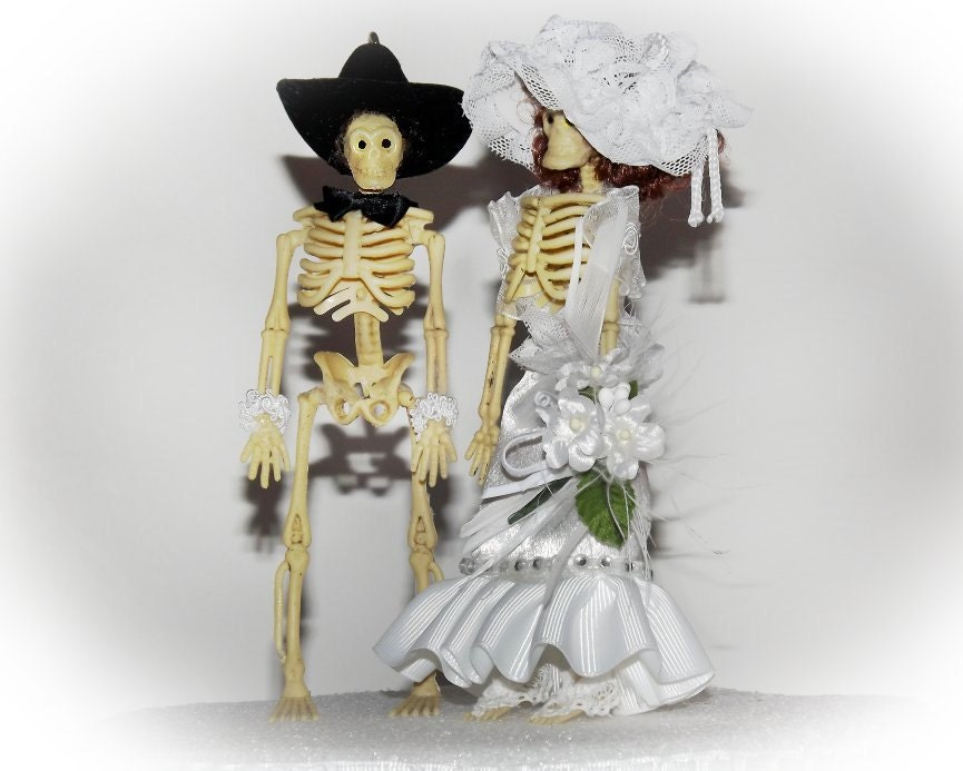 Gothic Skeleton Wedding Cake Toppers Handmade Steampunk New Age