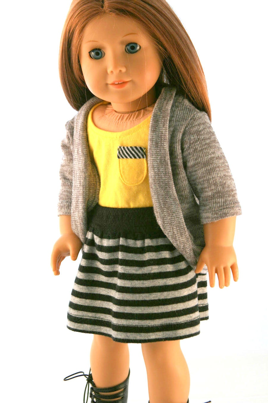 American Girl Doll Clothes - Yellow Tank with Pocket, Sweater Cardigan, and Striped Knit Skirt
