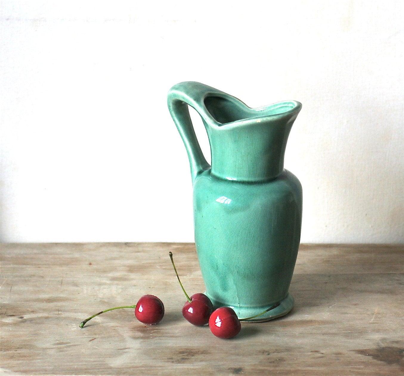 Vintage Ceramic Pitcher Vase Turquoise Glaze Craftsman - ivorybird