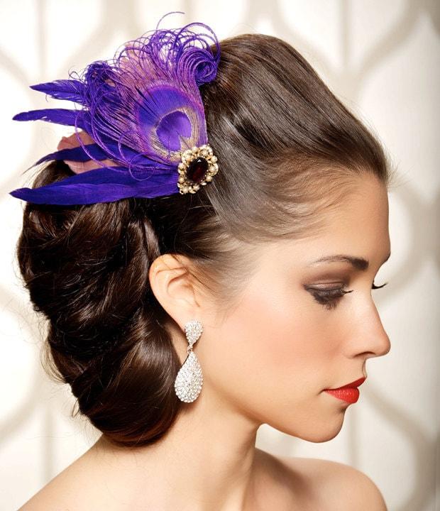 Violet Purple Peacock Bridal Hair Piece Hair Clip Veil Clip