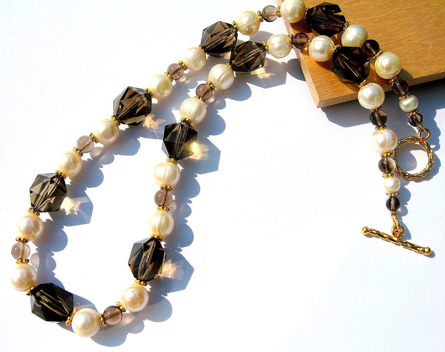 Smoky Quartz Necklace, Pearl &Gold Vermeil, Gemstone Jewelry