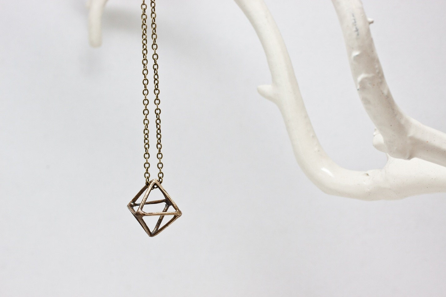 Geometric Brass Diamond Pendant Necklace - CSfootprints