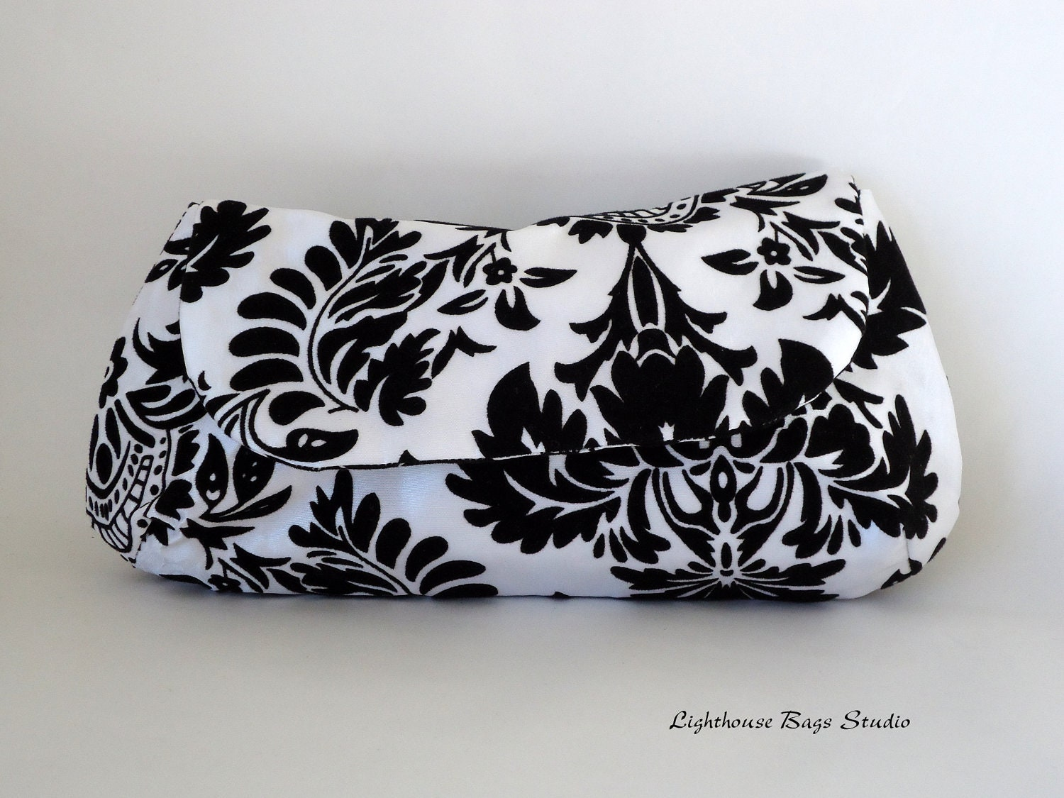 Curvy Clutch / Bridesmaid-Wedding Clutch - Black Damask - Lighthousebags