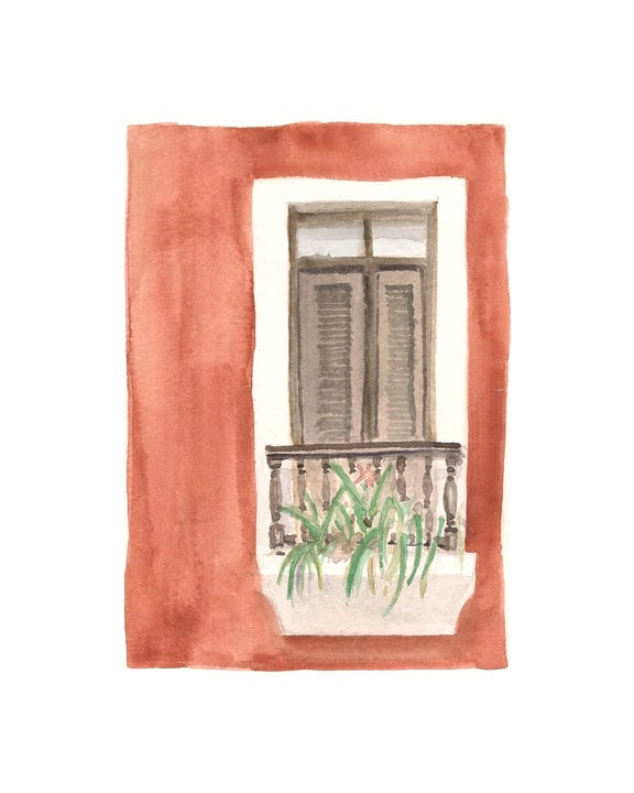"Watercolor print: ""Balcony door, Old San Juan"", by estudio arbitrario - estudioarbitrario"