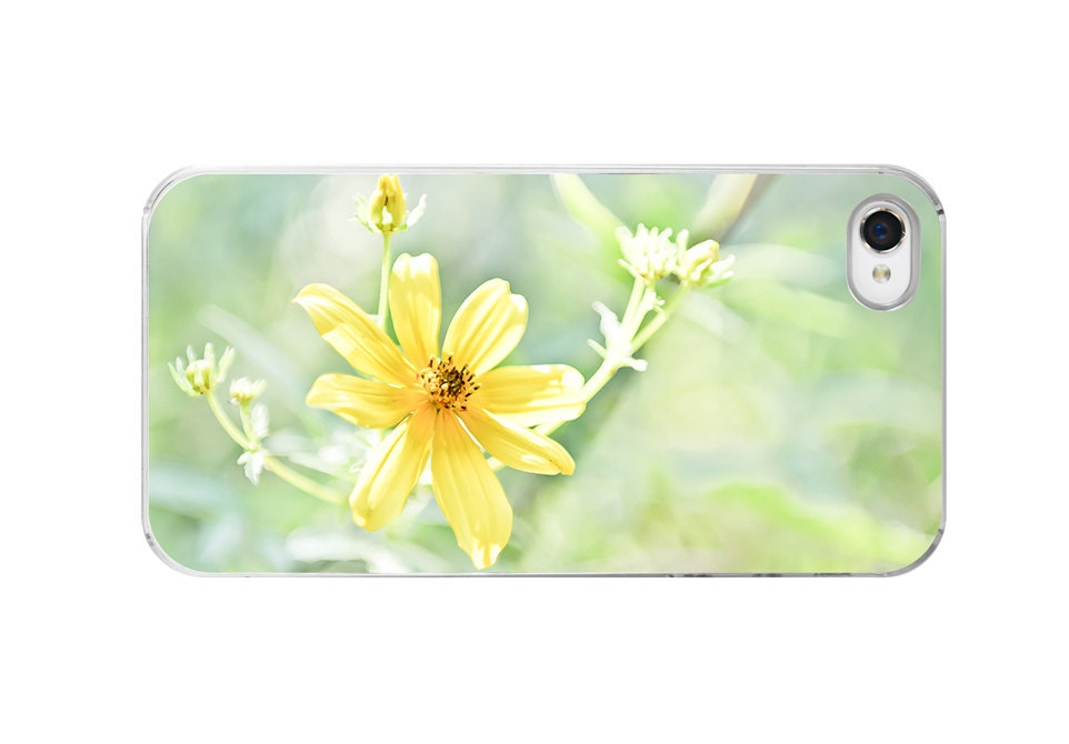 iPhone 4 Case yellow floral iphone 4s cover case iphone case cosmo happy cheerful blossom get well spring summer yellow
