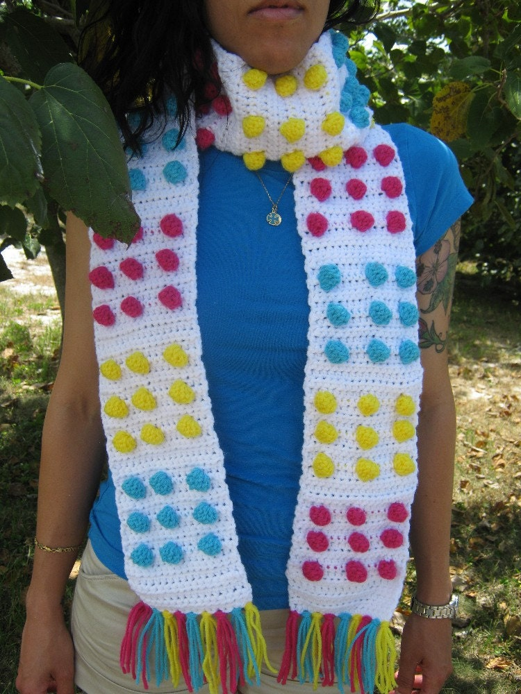 Candy Buttons Blast Crochet Scarf by PinkFrog4U on Etsy from etsy.com