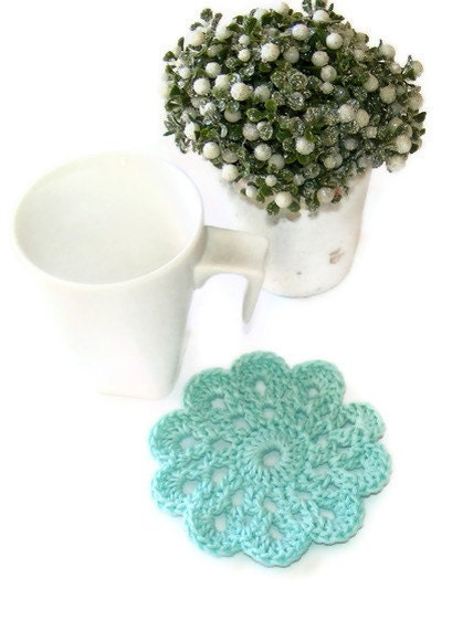 Blue  Turquoise Handmade Doily Crochet Coaster Set of 4 ,approx. 9cm 3.54inch - SNOflowers