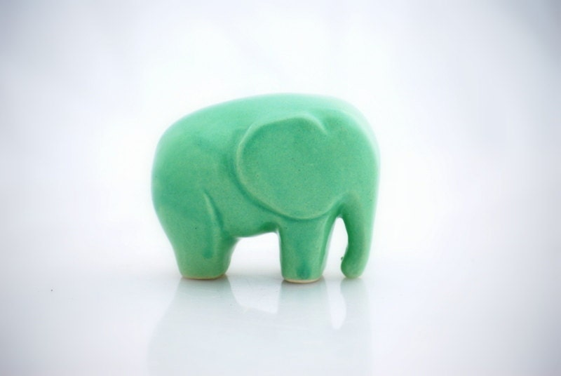 Elephant  ceramic figurine in mint green - claylicious