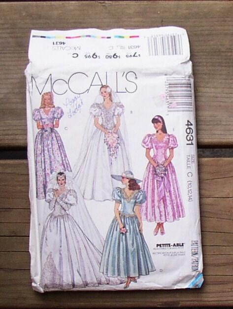 Vintage WEDDING DRESS PATTERN 1989 Bridesmaid Gown McCalls