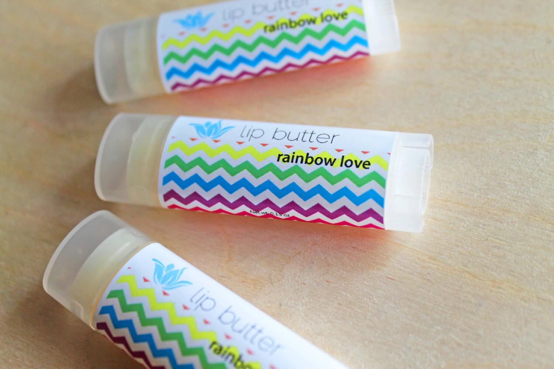 Rainbow Love lip butter, natural vegan gluten-free lip balm, fruity summer flavor