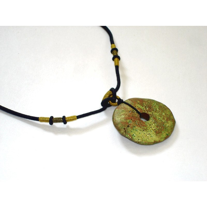 Green Raku Ceramic Disk Necklace Organic Necklace, Clay Circle, Boho chic Jewelry, Adjustable Length - blueroompottery