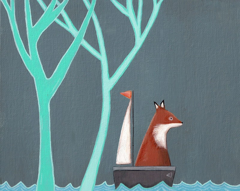 Carry Me Home: Fox In A Sailboat Print