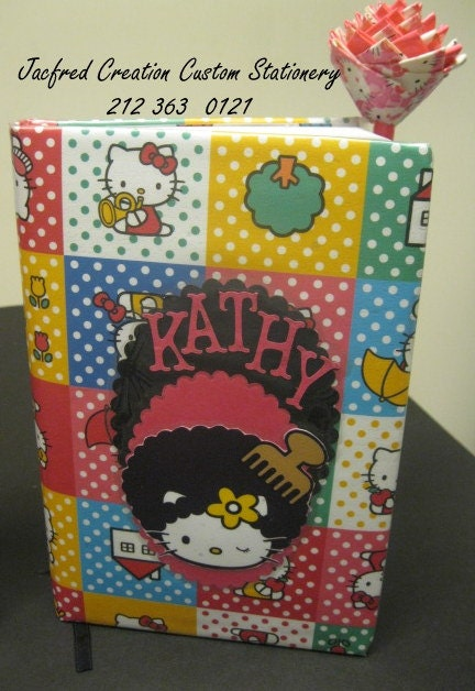 Afro Hello Kitty Journal and Matching pen