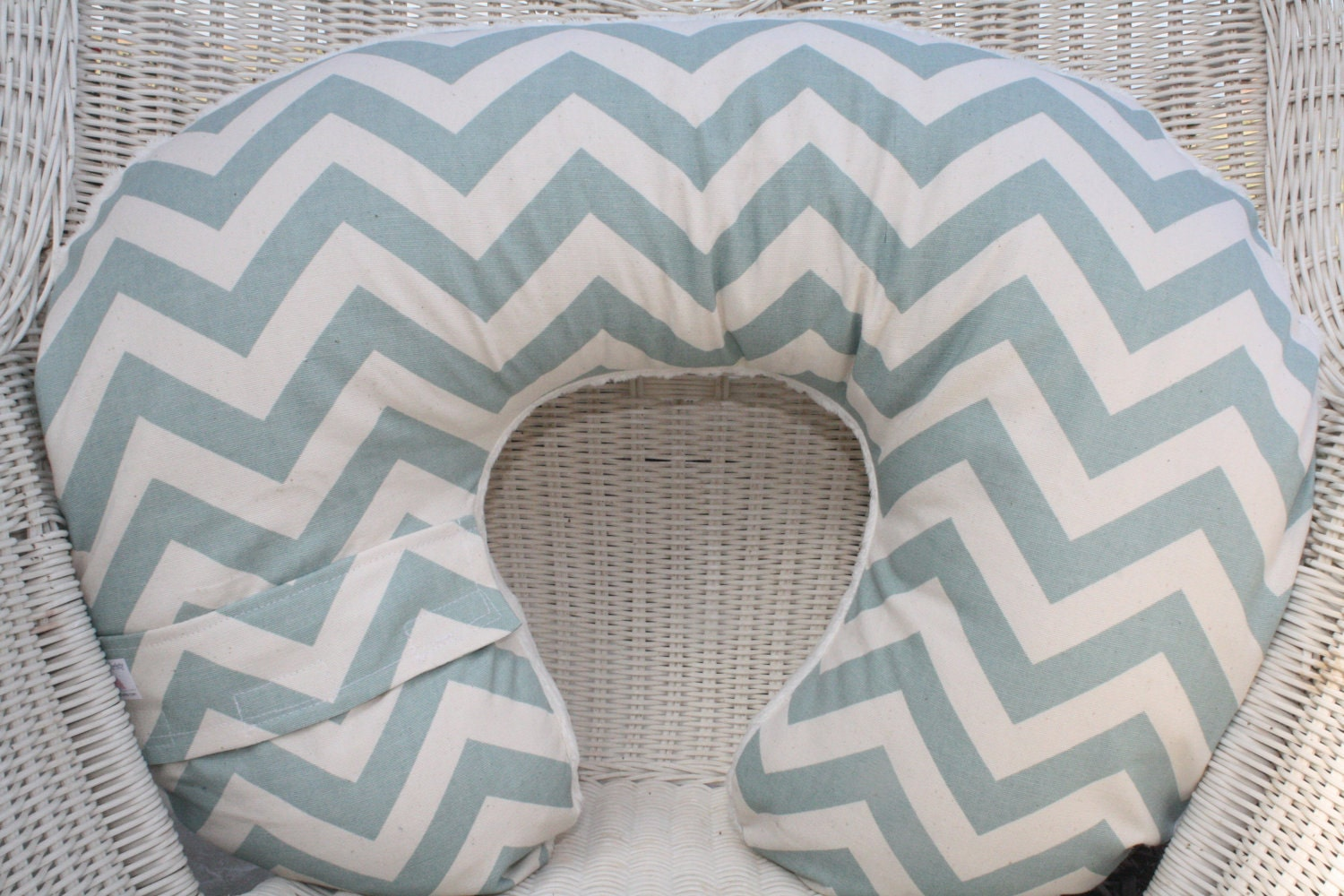 Personalized Village Blue Chevron with Ivory Chenille Boppy Cover