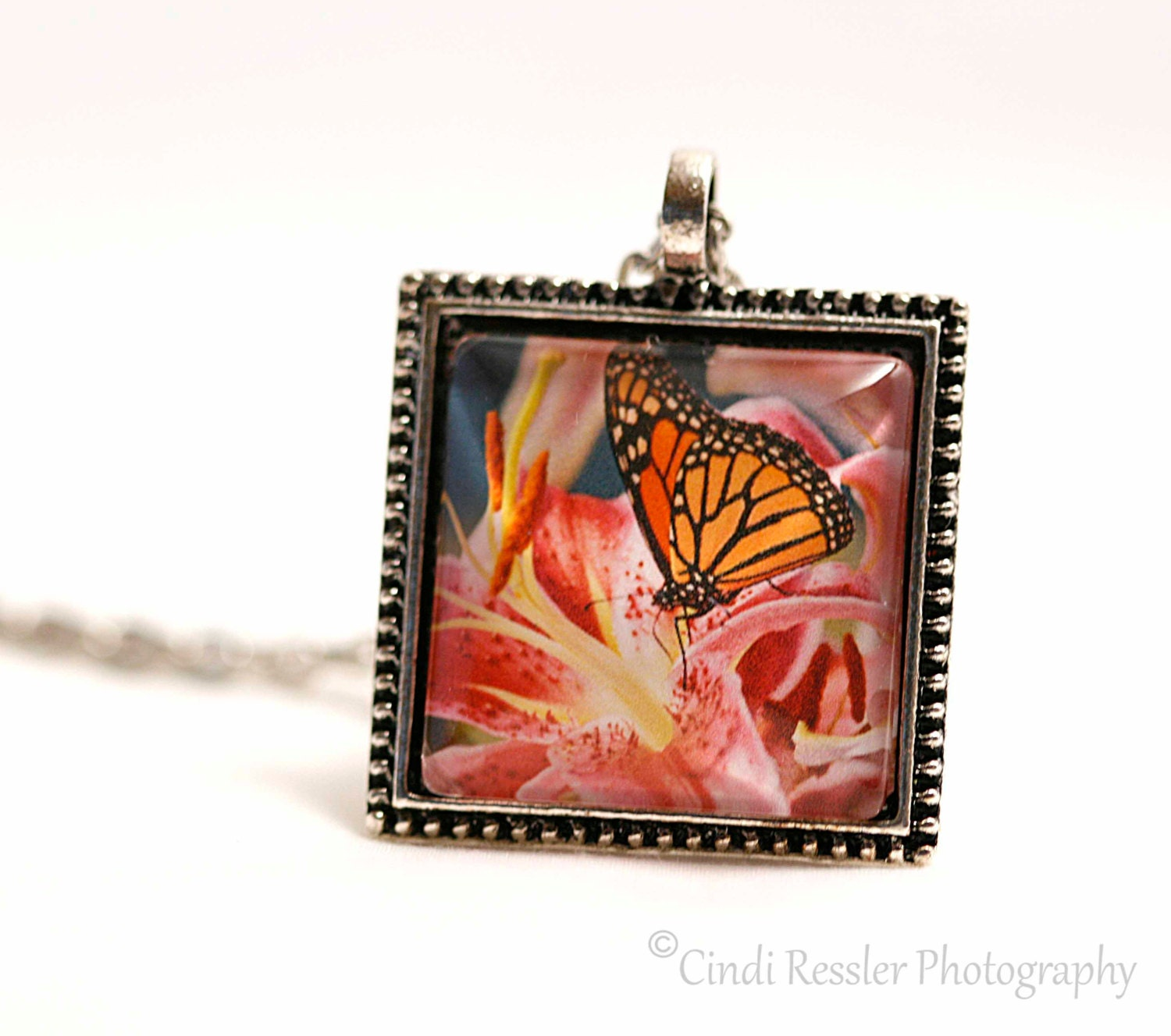 Monarch on Oriental Lily Photo Pendant, Photo Jewely - CindiRessler