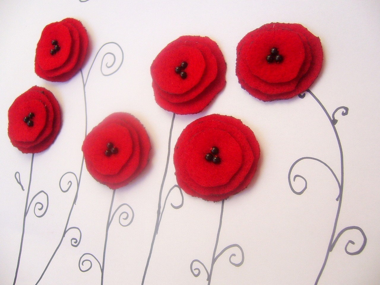 6 Red felt flower applique handmade poppy sew on embelishment glue on