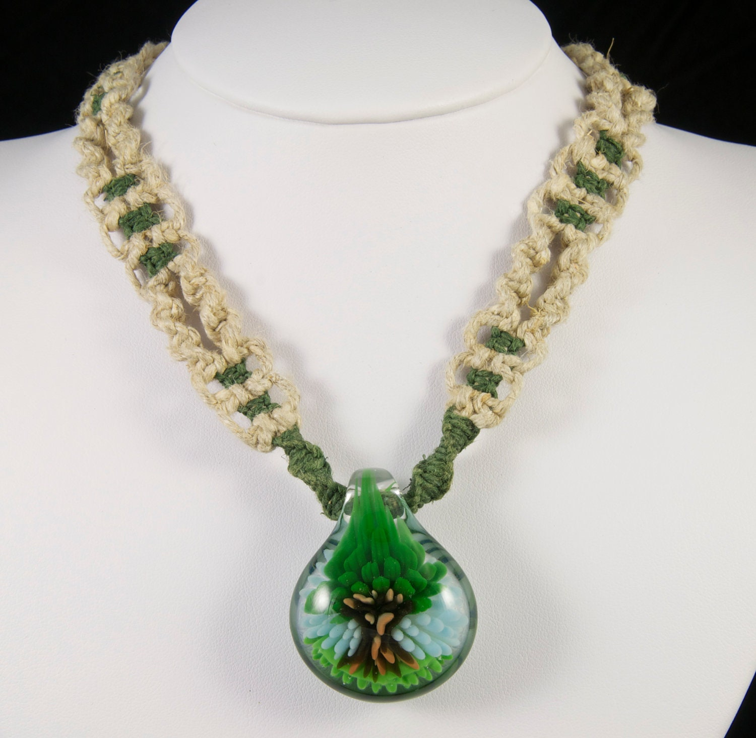 Natural and Green Hemp Necklace w/ Glass Pendant - Jewelry - Necklace - FREE Shipping (US Only)