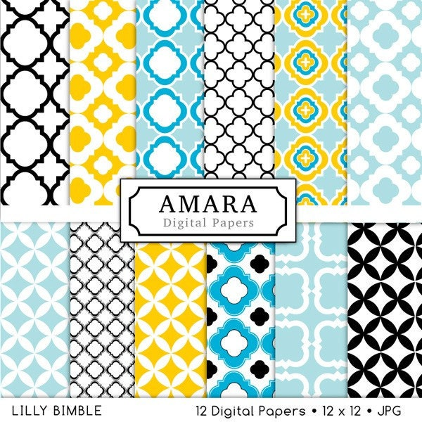 Amara Digital Papers Quatrefoil lattice work for photo cards, stationary