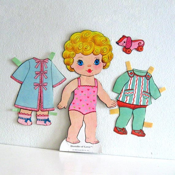 1960s Vintage Paper Doll Uneeda Bundle of Love with outfits large