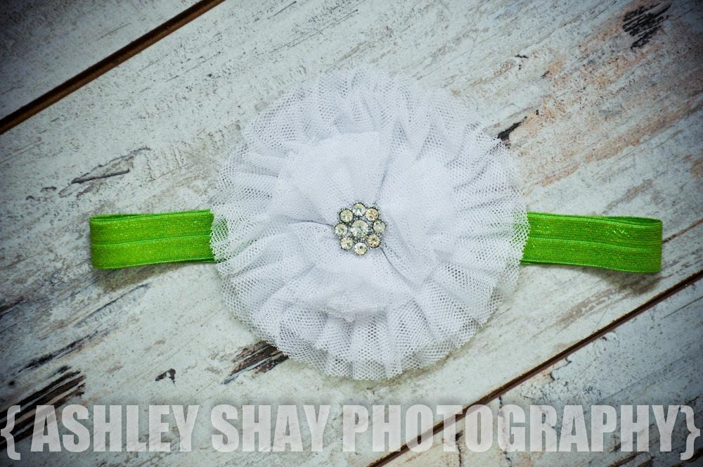 NEW - Large White Shabby Chic Flower on a Bright Olive Stretch Headband - St. Patrick's Day, Summer, Spring, Birthday