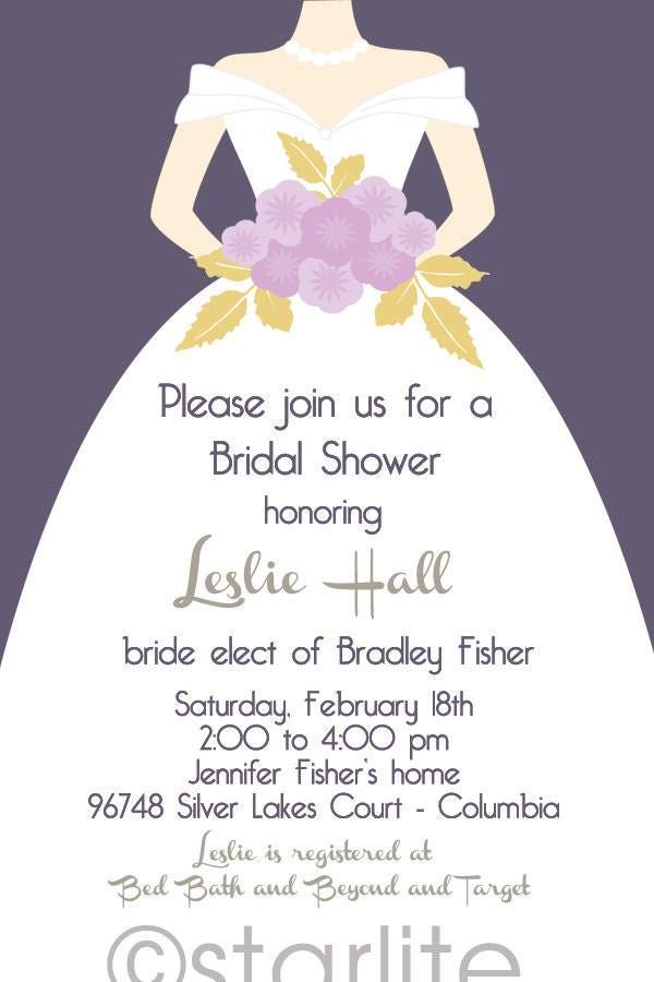 Bridal Shower wedding gown invitation Solid Plum background bridal