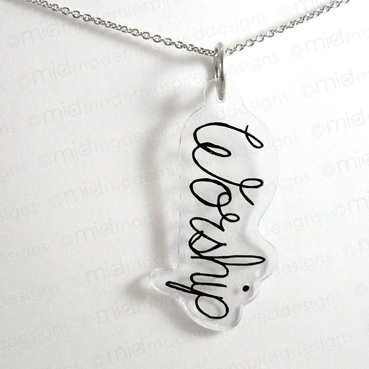 Clear Worship Cursive Script Pendant - Worship Pendant - Christian Jewelry - Christian Necklace - Worship - Faith Jewelry - Faith Necklace - moderninspireddesign