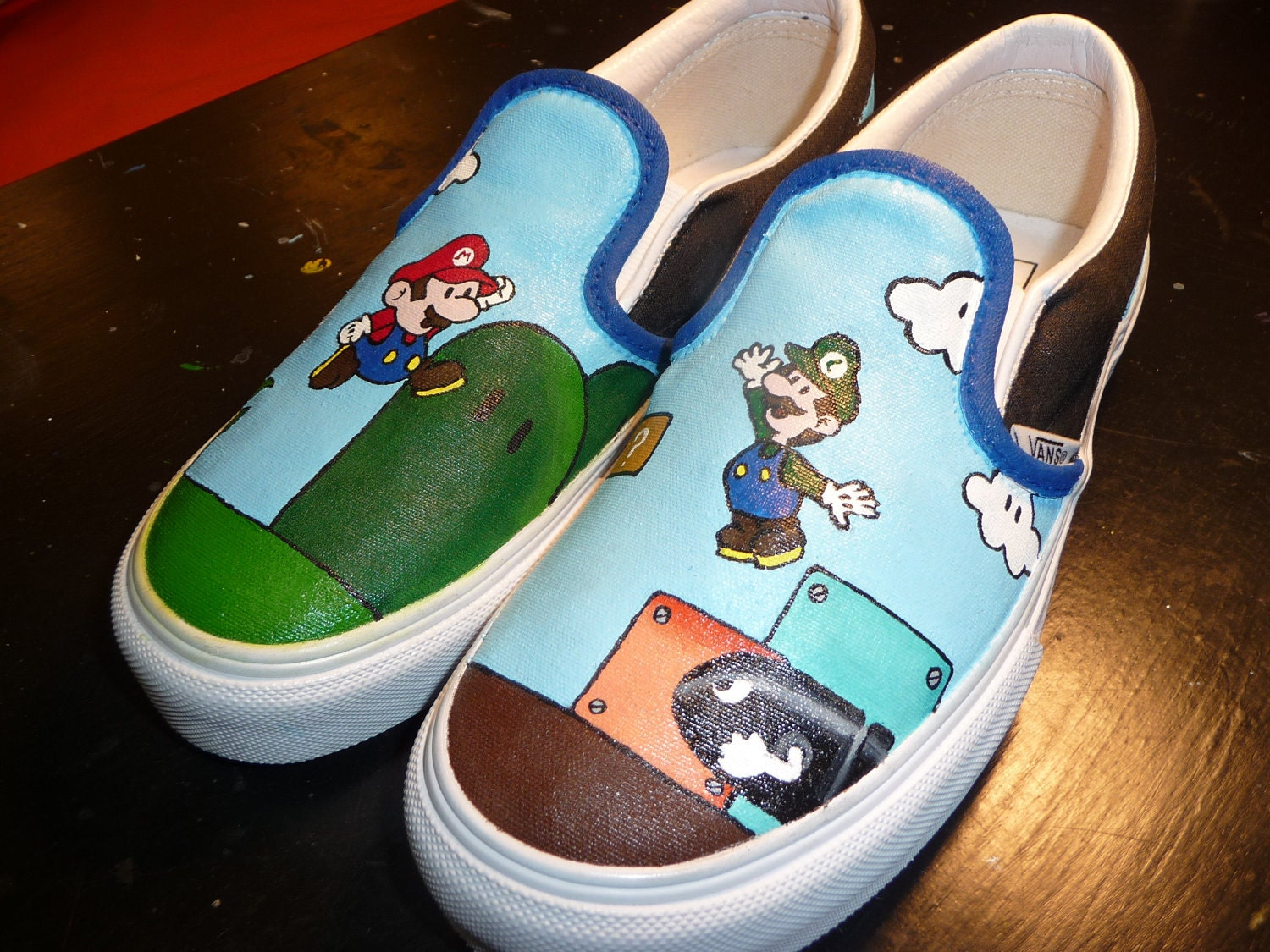 Custom Hand Painted Shoes - Mario and Luigi
