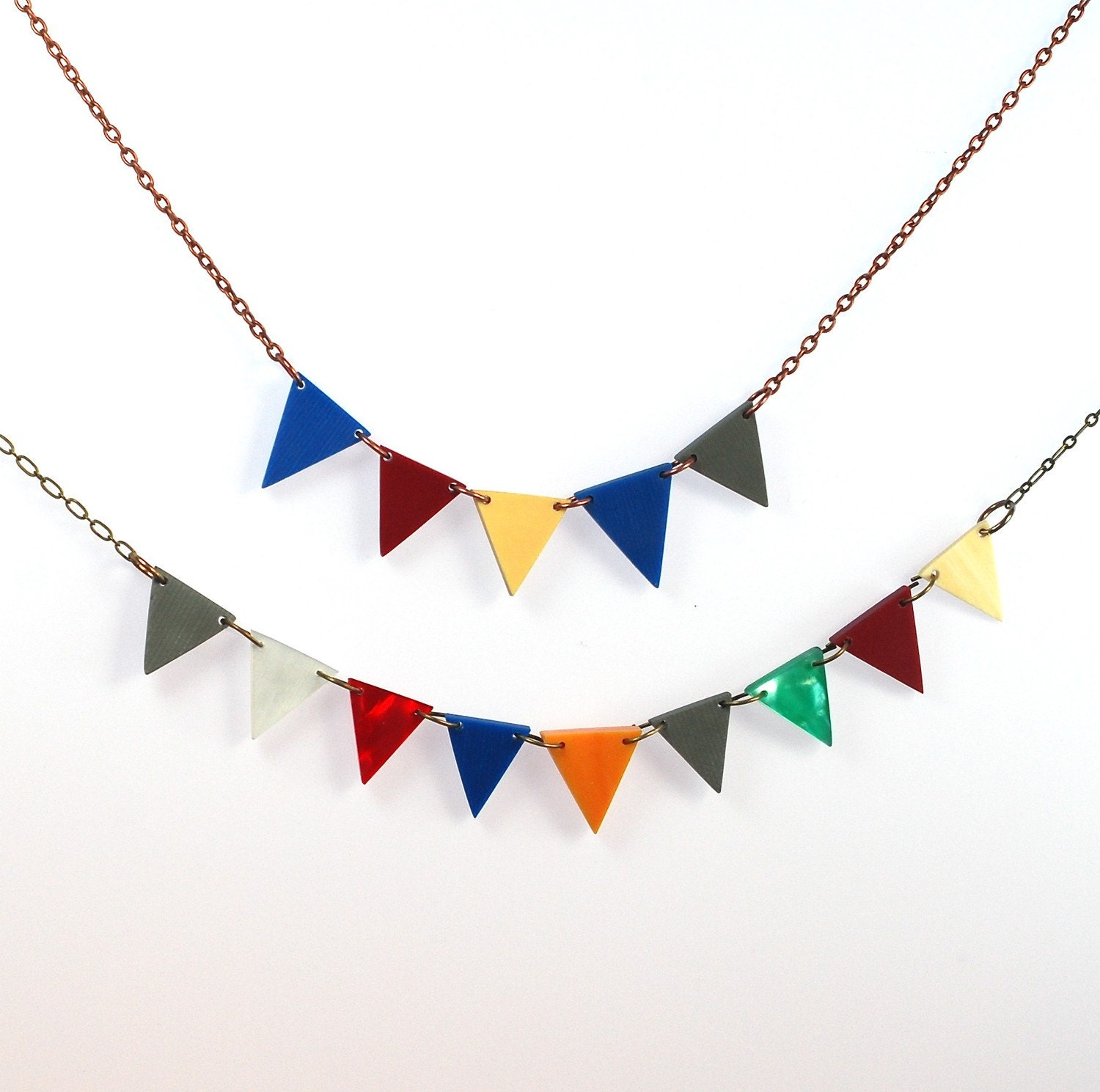 Five Pennant Bunting Necklace Recycled - ThePolkadotMagpie