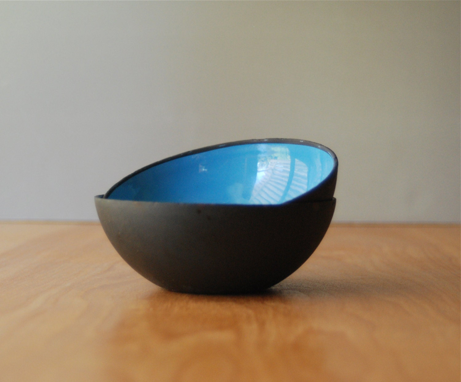Mid Century Modern Blue and Black Enamel Bowls - Husqvarna - DipperVintage