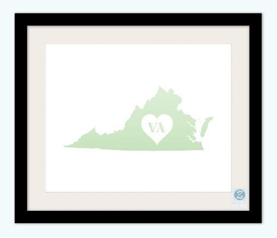 "Virginia - State Love 8x10"" Print in Custom Colors"