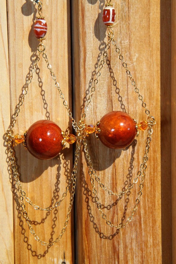 "6"" 1/4 L dZi, agate stone bead, rust color wood, gold chain, dangle, shoulder length, earrings"