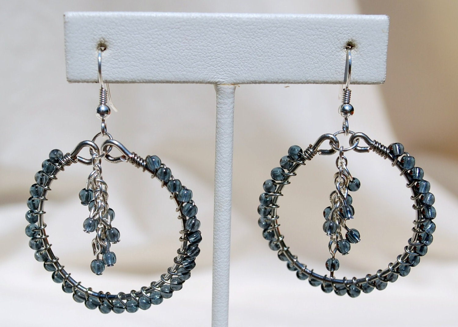 Blue Hoop and Dangle Earrings