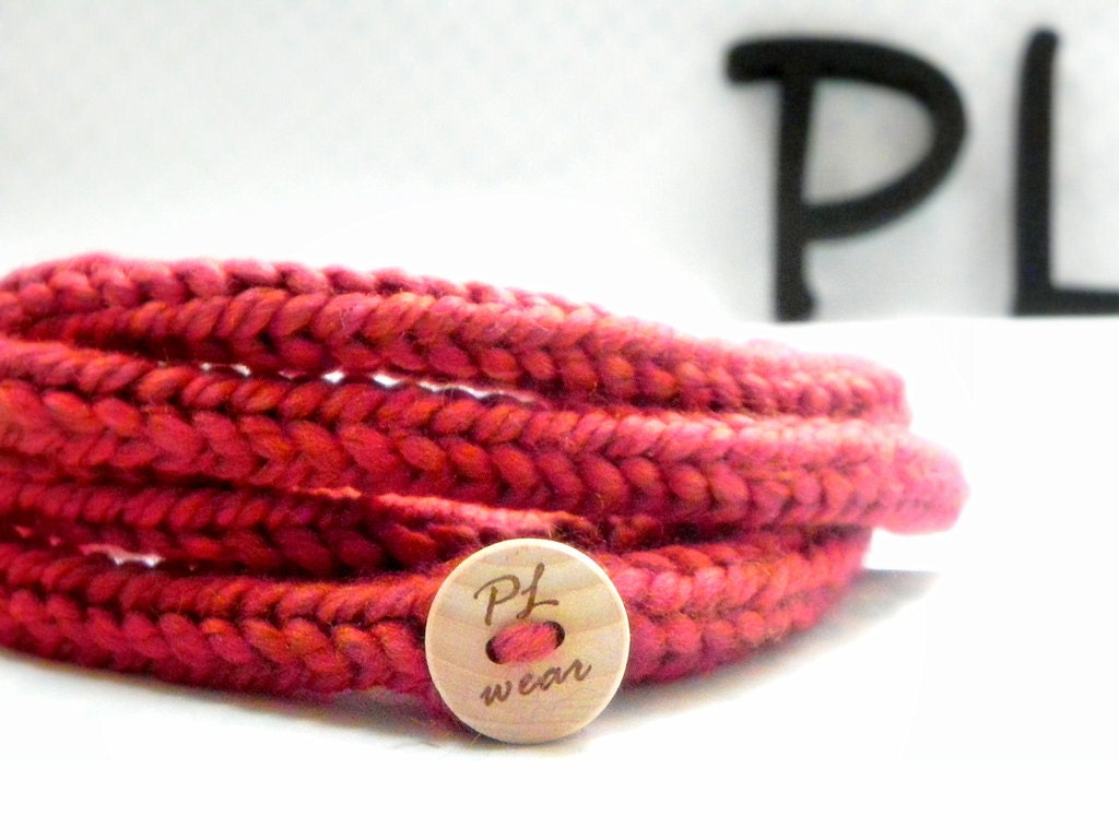 Red extra long skinny infinity rope necklace scarf by PL wear - PLwear